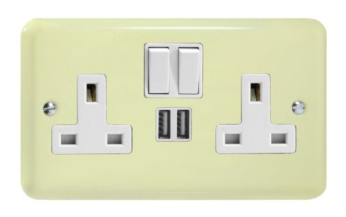Varilight XY5U2SW.WC Lily Pastel White Chocolate 2 Gang Double 13A Switched Plug Socket 2.1A USB